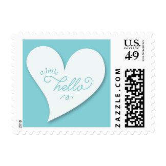 A Little Hello Blue Pregnancy Announcement Stamps