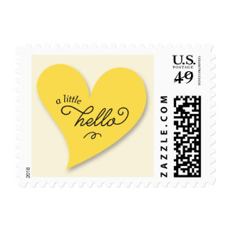 A Little Hello Yellow Pregnancy Announcement Stamp