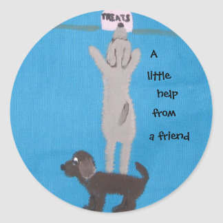 A little help from a friend classic round sticker