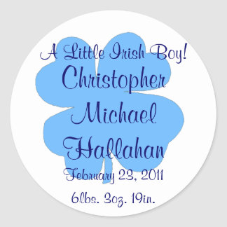 """""""A Little Irish Boy!"""" - Birth Announcement Sticker"""