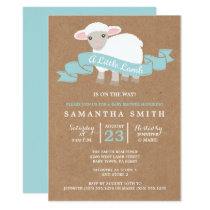 A Little Lamb Boy Baby Shower Invitation