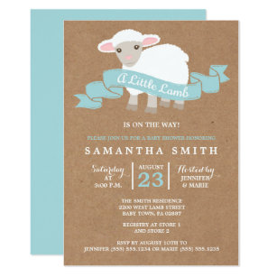 Lamb baby shower invitations announcements zazzle a little lamb boy baby shower invitation filmwisefo