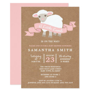 A Little Lamb Girl Baby Shower Invitation