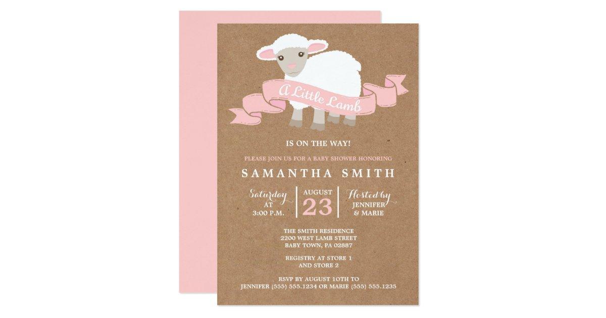 A Little Lamb Girl Baby Shower Invitation | Zazzle.com