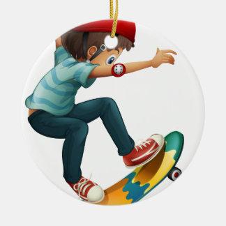 A little man skateboarding ceramic ornament
