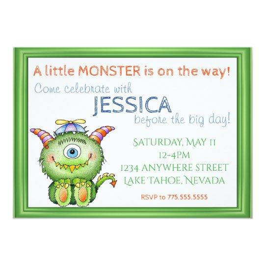 A Little Monster Baby Shower Invitation Zazzle Com