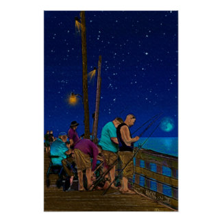 A Little Night Fishing at the Rodanthe Pier Posters