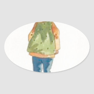 A Little Outkast Chinese Boy Oval Sticker