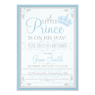 A Little Prince Is On His Way 5x7 Paper Invitation Card