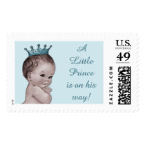 A Little Prince is on His Way Vintage Baby Postage Stamp