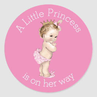 A Little Princess Baby Shower Pink Classic Round Sticker