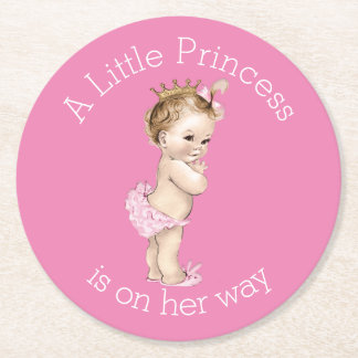 A Little Princess Baby Shower Pink Round Paper Coaster