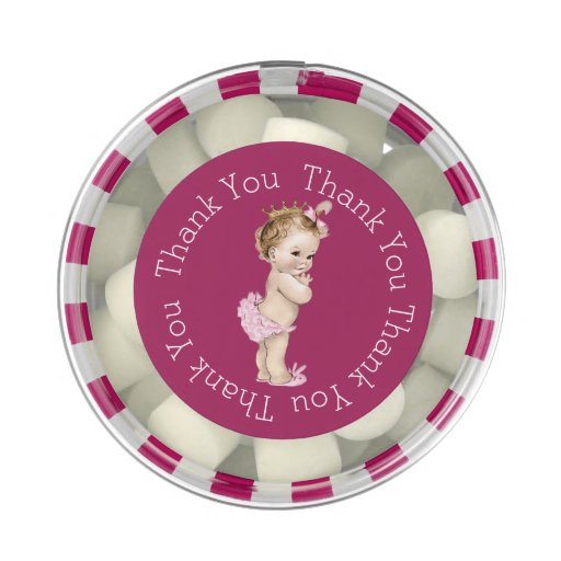 Princess Baby Shower Pink Thank You Favor Chewing Gum Favors | Zazzle ...