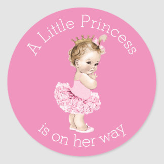 A Little Princess Ballerina Baby Shower Pink Classic Round Sticker