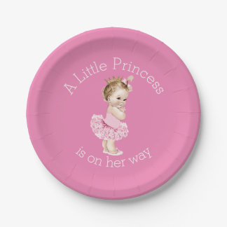 A Little Princess Ballerina Baby Shower Pink Paper Plate