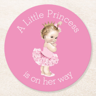 A Little Princess Ballerina Baby Shower Pink Round Paper Coaster