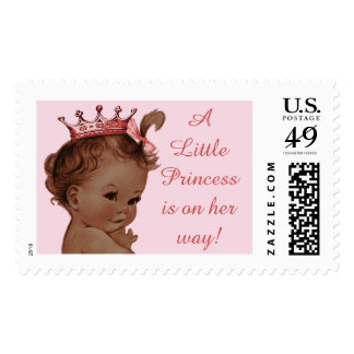 A Little Princess is on Her Way EthnicVintage Baby Postage Stamps