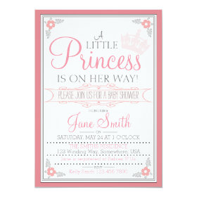 A Little Princess Is On Her Way 5x7 Paper Invitation Card