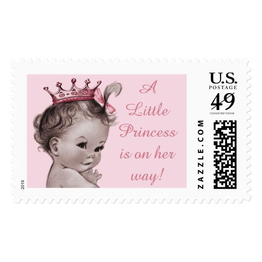 A Little Princess is on Her Way Vintage Baby Postage Stamps