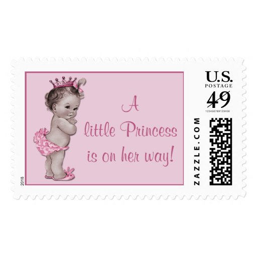 A Little Princess is on Her Way Vintage Baby Stamps
