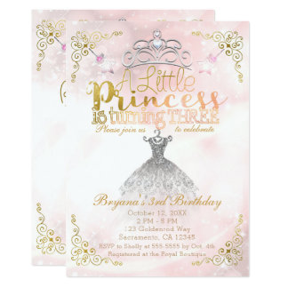 A Little Princess turning THREE 3rd Birthday Party Card