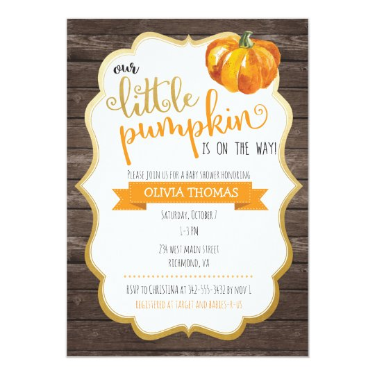 A Little Pumpkin Baby Shower Invitation Zazzle Com