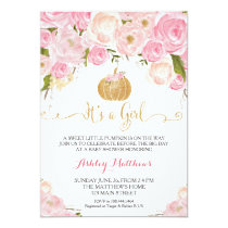 A little Pumpkin Baby Shower Pink & Gold Glitter Card