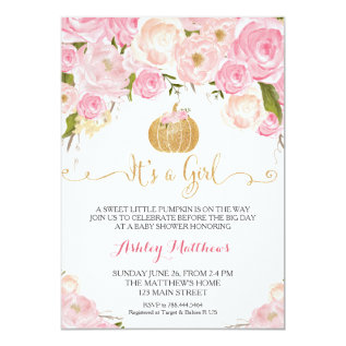 A Little Pumpkin Baby Shower Pink & Gold Glitter Card at Zazzle