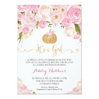 A Little Pumpkin Baby Shower Pink U0026 Gold Glitter Card