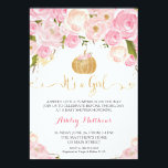 "A little Pumpkin Baby Shower Pink &amp; Gold Glitter Invitation<br><div class=""desc"">A little Pumpkin Baby Shower Card</div>"