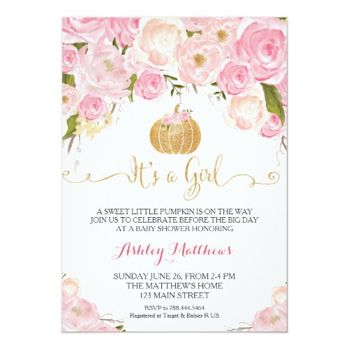 A little Pumpkin Baby Shower Pink  Gold Glitter Invitation