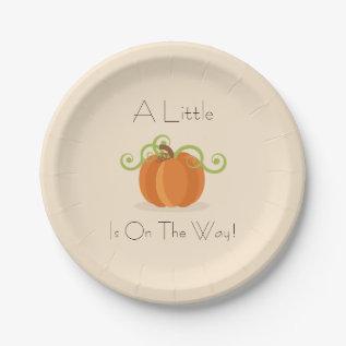 A Little Pumpkin Baby Shower Plates at Zazzle