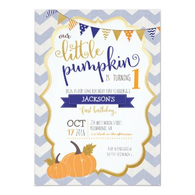 Our little pumpkin is turning one invitation zazzle filmwisefo Image collections