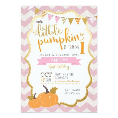 Pumpkin birthday invitation pink gold pumpkin zazzle filmwisefo