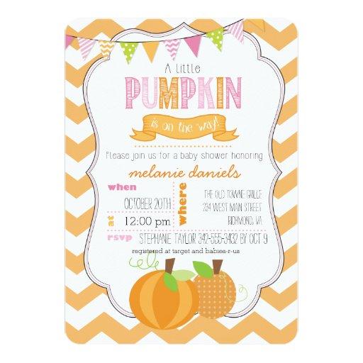 little pumpkin girl baby shower invitation zazzle