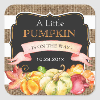 A Little Pumpkin in On The Way Fall Baby Shower Square Sticker