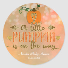 A little Pumpkin is on the Way Baby Shower Autumn Classic Round Sticker