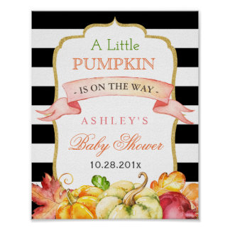 A little Pumpkin is on the Way | Baby Shower Sign Poster