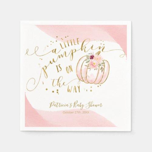 A Little Pumpkin Is On The Way Elegant Baby Shower Napkins