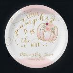 """A Little Pumpkin Is On The Way Elegant Baby Shower Paper Plate<br><div class=""""desc"""">A Little Pumpkin Is On The Way Elegant Baby Shower Paper Plate</div>"""