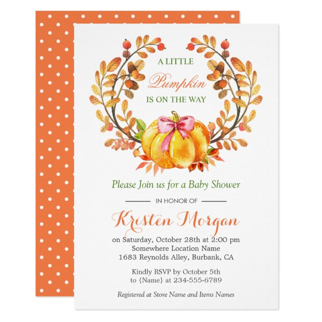 A Little Pumpkin Is On The Way Fall Baby Shower Card