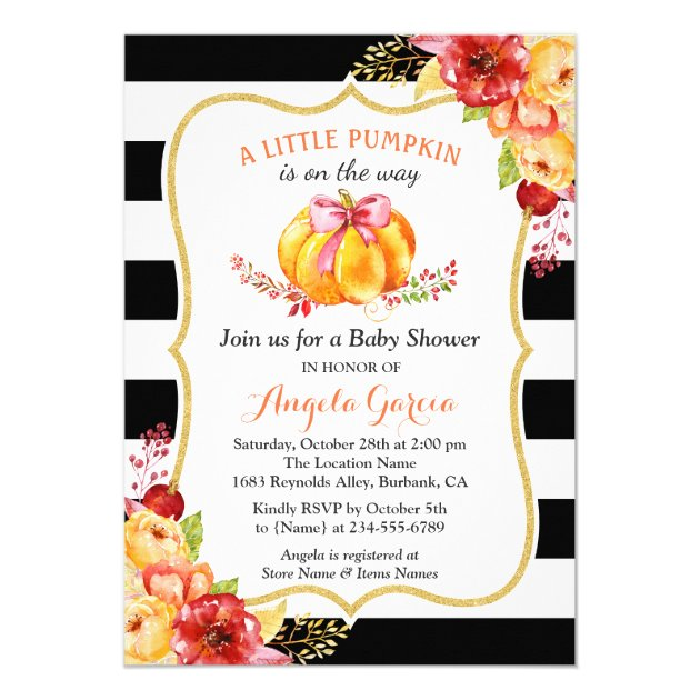 A Little Pumpkin is On the Way | Girl Baby Shower Card (back side)
