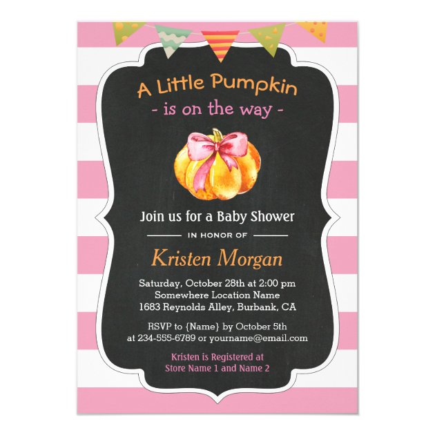 A Little Pumpkin is on the Way Girl Baby Shower Card