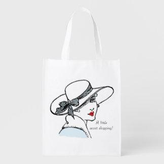 'A little secret shopping' vintage foldaway bag Reusable Grocery Bags