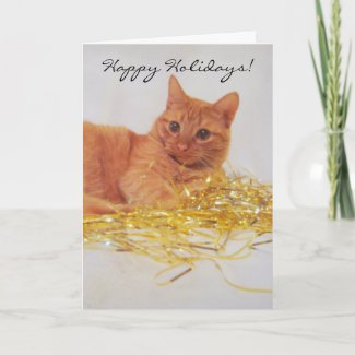 A Little Sparkle Cat Holiday Greeting Card card