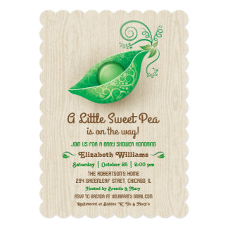 A Little Sweet Pea is on the Way Baby Shower 5x7 Paper Invitation Card