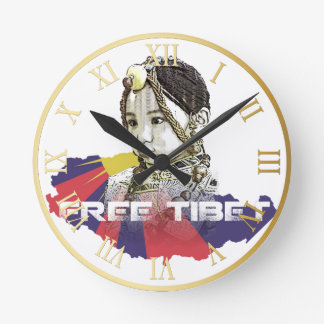 A little Tibetan girl  SAVE TIBET~! FREE TIBET! Round Clock