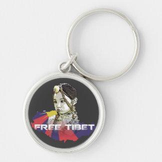 A little Tibetan girl  SAVE TIBET~! FREE TIBET! Silver-Colored Round Keychain