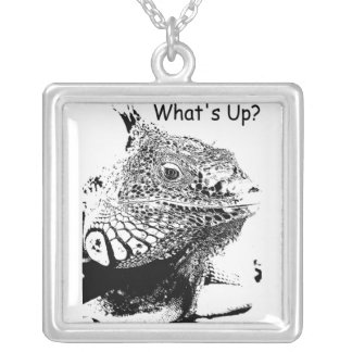 A lizard in B&W Silver Plated Necklace