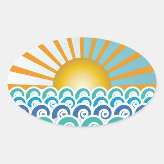 A lo largo del pegatina oval azul de las ondas